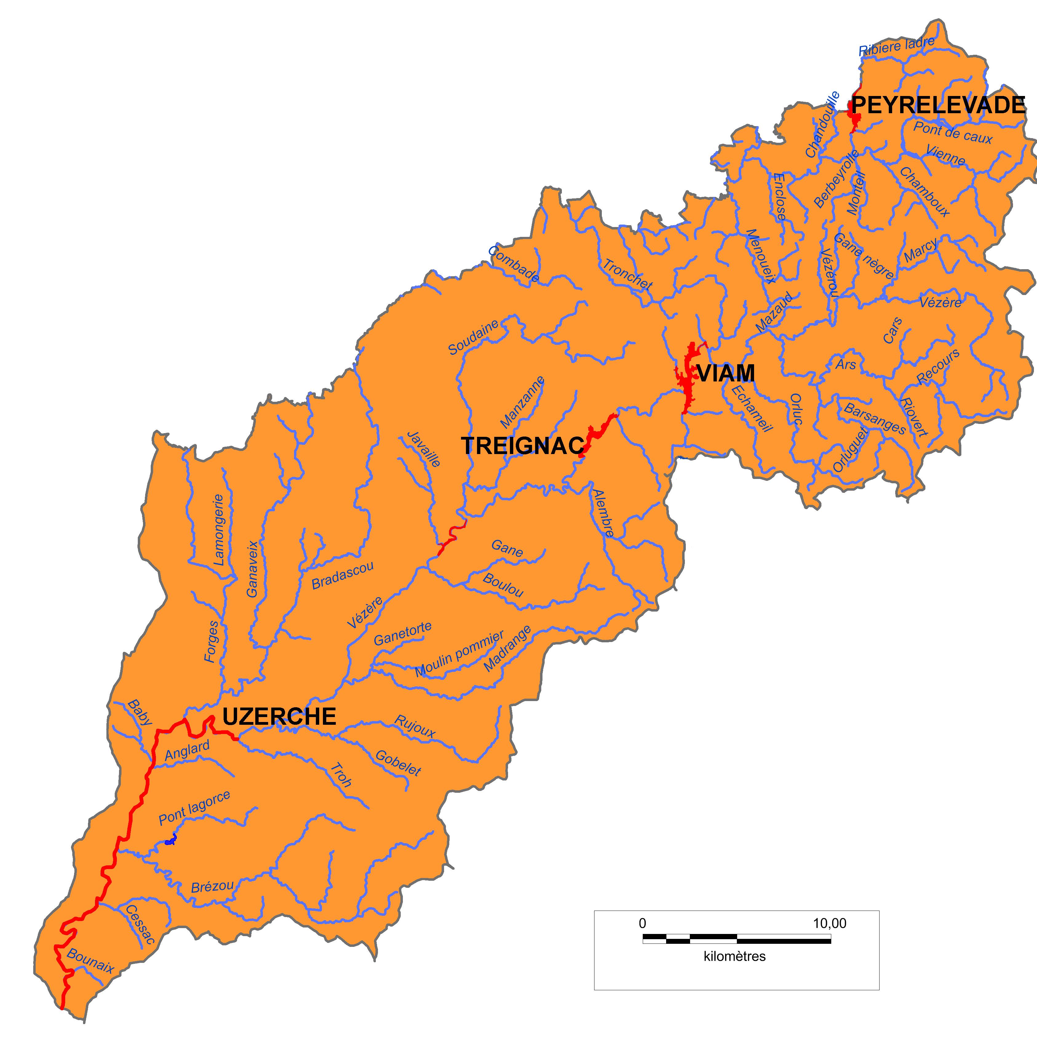 Carte-Bassin-Haute-Vézère-Vienne