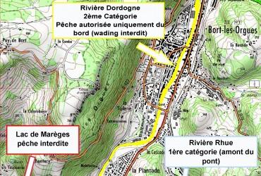 Règlementation pêche Dordogne/Rhue/Marèges