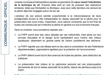 Communiqué de la FNPF anti-pêche.