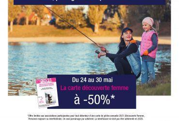 Promo sur la carte de pêche promotionnelle femme pour la fête des mères !